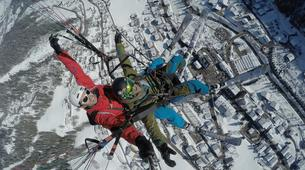 Paragliding-Le Grand-Bornand, Massif des Aravis-Winter tandem paragliding flight over Le Grand-Bornand-1