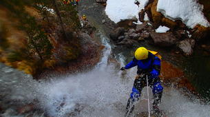 Canyoning-Ossau valley-Winter canyon of Gourcy in Ossau Valley-3