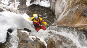 Canyoning-Ossau valley-Winter canyon of Gourcy in Ossau Valley-6