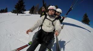 Paragliding-La Clusaz, Massif des Aravis-Winter tandem paragliding flight in La Clusaz-3