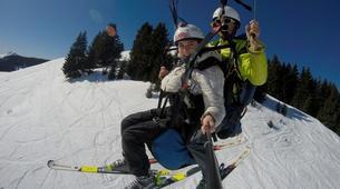 Paragliding-La Clusaz, Massif des Aravis-Winter tandem paragliding flight in La Clusaz-1