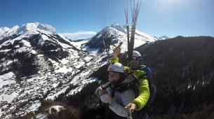 Paragliding-La Clusaz, Massif des Aravis-Winter tandem paragliding flight in La Clusaz-2