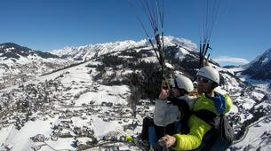 Paragliding-La Clusaz, Massif des Aravis-Winter tandem paragliding flight in La Clusaz-6