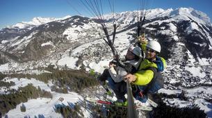 Paragliding-La Clusaz, Massif des Aravis-Winter tandem paragliding flight in La Clusaz-4