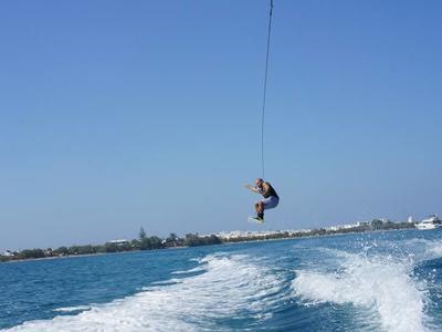 Wakeboarding: Boat wakeboarding session from Psaraliki II Beach, Antiparos