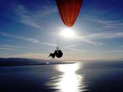 Tandem paragliding flight above Kefalonia