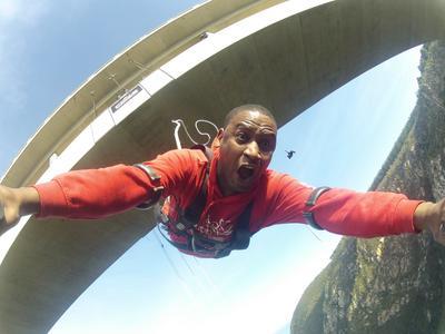 World's highest bridge bungy, 216m from Bloukrans Bridge