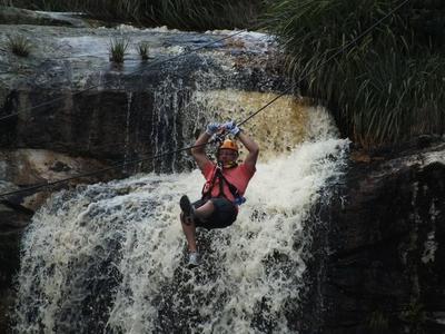 Waterfall zipline tours over the Kruis River