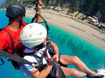 Tandem paragliding flight over Lefkada, Greece