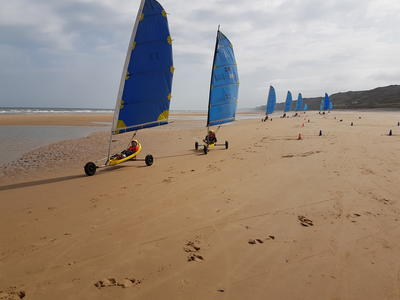 Land sailing session on Omaha Beach, Normandy