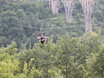 Zip lining over Tara Canyon in Montenegro