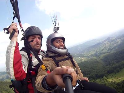 Tandem paragliding flight from Mt. Cigota in Zlatibor