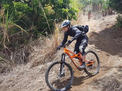 Mountain biking on the Maido, Reunion Island