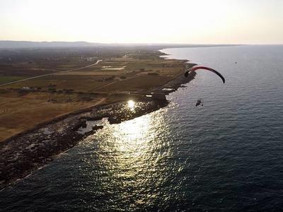 Paramotoring tandem flight over Savelletri, near Bari