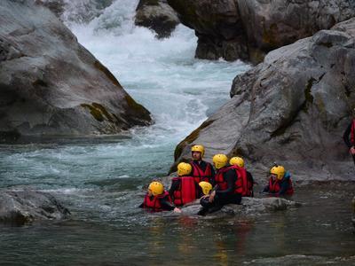 Intermediate Canyoning in Rio Laghetto Canyon near Alagna Valsesia, Aosta Valley