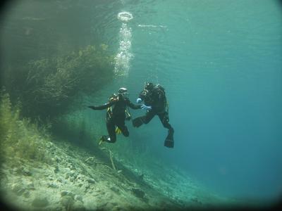 Lake Diving near Suse and Avigliana lakes, Italy