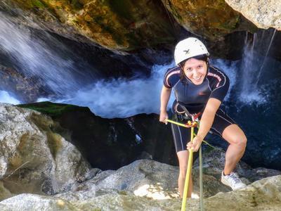 Water trekking with waterfall abseil at the Kourtaliotiko Gorge Waterfall near Plakias