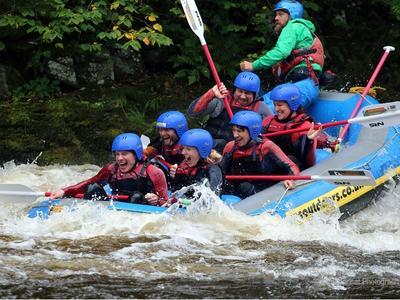 Rafting down the River Dee in Llangollen