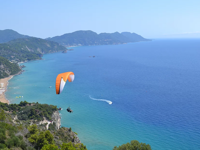 Tandem paragliding flight in Corfu