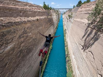 Bungee jumping in the Corinth Channel