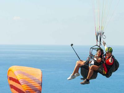 Tandem Paragliding flight over Kathisma beach, Lefkada