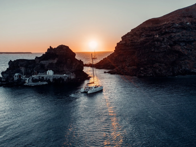 Semi Private Sunset Sailling Cruise from the Port of Vlychada in Santorini