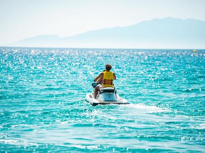 Jet Skiing: Jet Ski on the Crystal Water of Mykonos