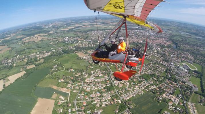 Microlight flying-Toulouse-Microlight plane first flight near Toulouse-9