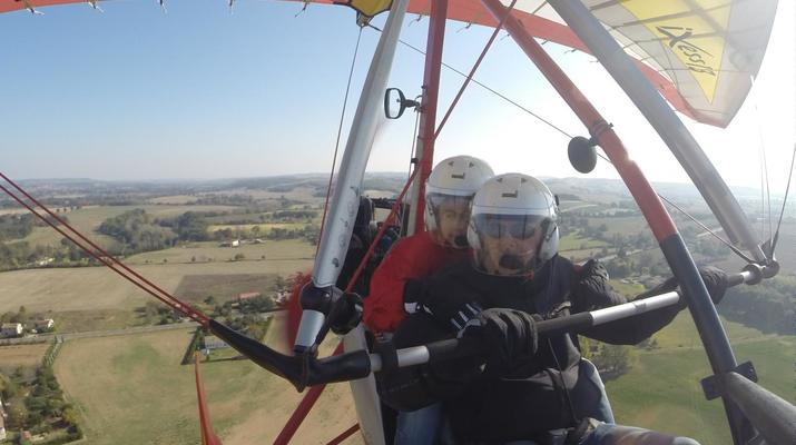 Microlight flying-Toulouse-Microlight plane first flight near Toulouse-7