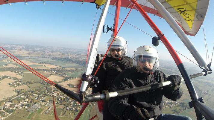 Microlight flying-Toulouse-Microlight plane first flight near Toulouse-6