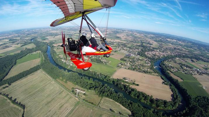 Microlight flying-Toulouse-Microlight plane first flight near Toulouse-1