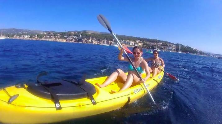 Kayak de mer-Palma, Majorque-Excursion en kayak, plongée en apnée et saut de côte à partir d'Illetas, Majorque-3