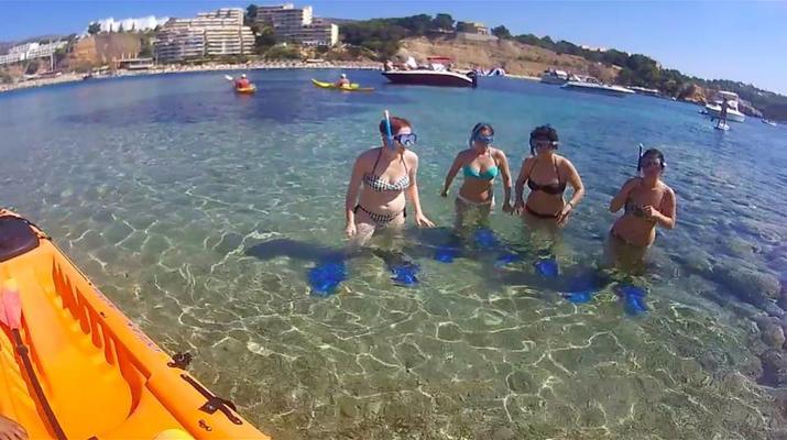 Kayak de mer-Palma, Majorque-Excursion en kayak, plongée en apnée et saut de côte à partir d'Illetas, Majorque-8