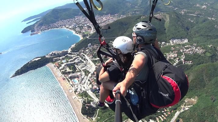 Paragliding-Budva-Tandem paragliding flight near Budva, Montenegro-3