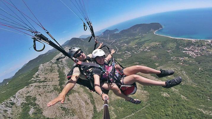Paragliding-Budva-Tandem paragliding flight in Petrovac, Montenegro-1
