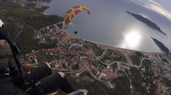 Paragliding-Budva-Tandem paragliding flight near Budva, Montenegro-2