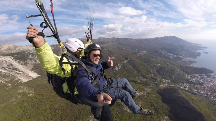 Paragliding-Budva-Tandem paragliding flight near Budva, Montenegro-9