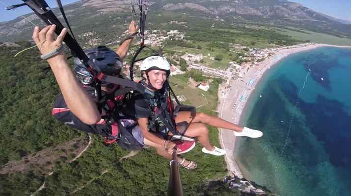 Paragliding-Budva-Tandem paragliding flight in Petrovac, Montenegro-4