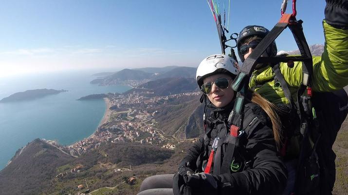 Paragliding-Budva-Tandem paragliding flight near Budva, Montenegro-7