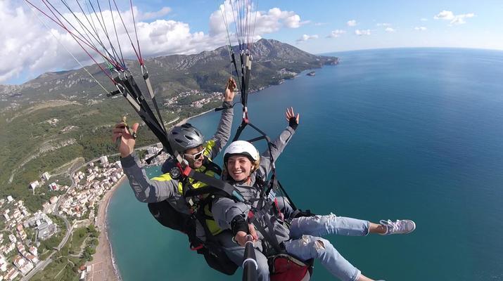 Paragliding-Budva-Tandem paragliding flight near Budva, Montenegro-1