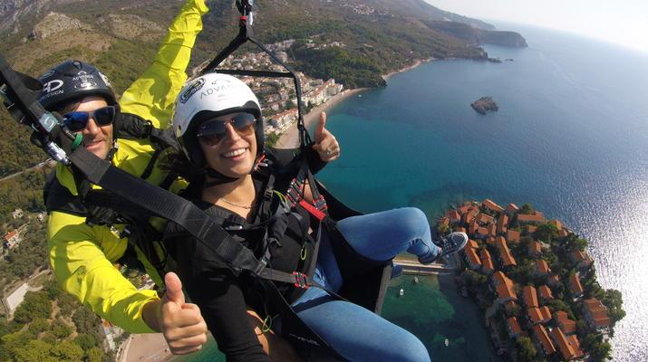 Paragliding-Budva-Tandem paragliding flight in St Stefan, Montenegro-6
