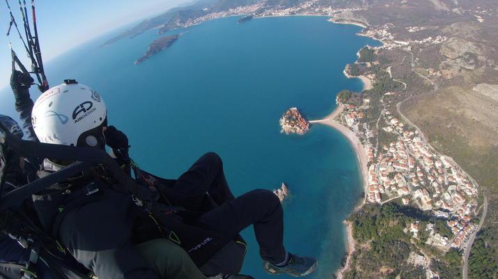 Paragliding-Budva-Tandem paragliding flight in St Stefan, Montenegro-1