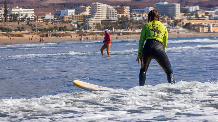 Surfing-Maspalomas, Gran Canaria-Surfing lessons in Playa del Ingles, near Maspalomas-6