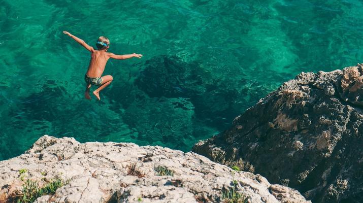 Kayak de mer-Palma, Majorque-Excursion en kayak, plongée en apnée et saut de côte à partir d'Illetas, Majorque-1