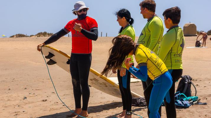 Surfing-Maspalomas, Gran Canaria-Surfing lessons in Playa del Ingles, near Maspalomas-3