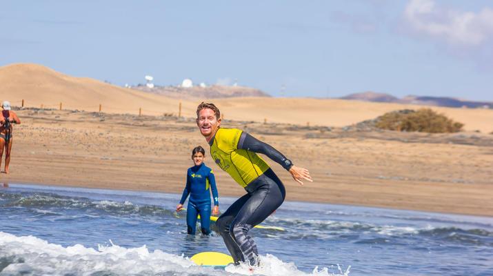 Surfing-Maspalomas, Gran Canaria-Surfing lessons in Playa del Ingles, near Maspalomas-5